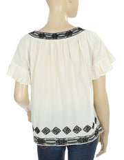 Elements Embroidered Ruffle Bell Sleeves Casual Blouse Top Maudie M