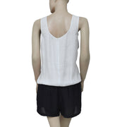 Berenice Mesh Sleeveless Off White & Black Romper Dress Small S