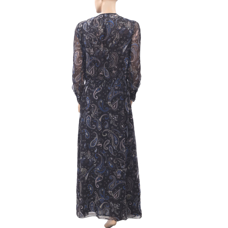 Zadig & Voltaire Remus Paisley Printed Maxi Dress Embellished Evening XS