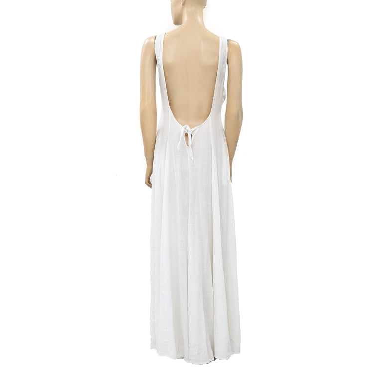 Free People Who's That Girl White Maxi Dress M New