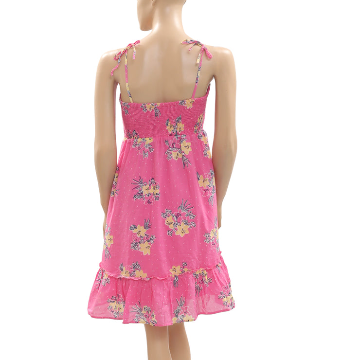 New Lilly Pulitzer Floral Printed Smocked Ruffle Pink Mini Dress Large L