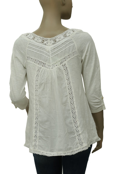 6bf98cf547cb79 Meadow Rue Anthropologie Lace Medley Ivory Blouse Top M – White Chocolate  Couture