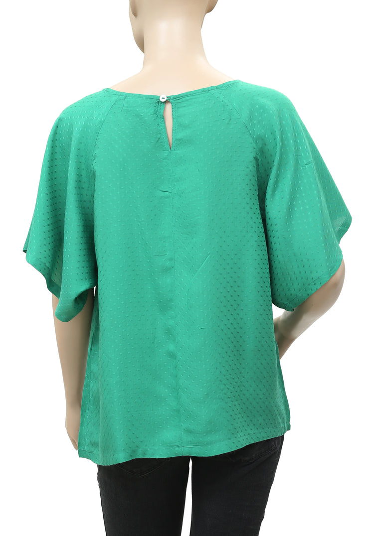 White Chocolate Dot Self Embroidered Green Blouse Top Medium M