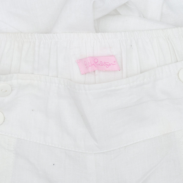 Lilly Pulitzer Smocked Wide Leg Pocket White Casual Pajama Pant S