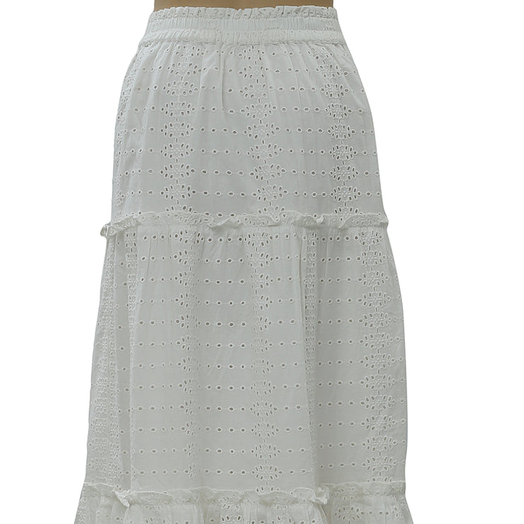 Free People Eyelet Embroidered Midi Skirt