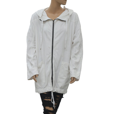 Free People Quilted Hoodie White Jacket Top Zip Up Kimono Oversized M New