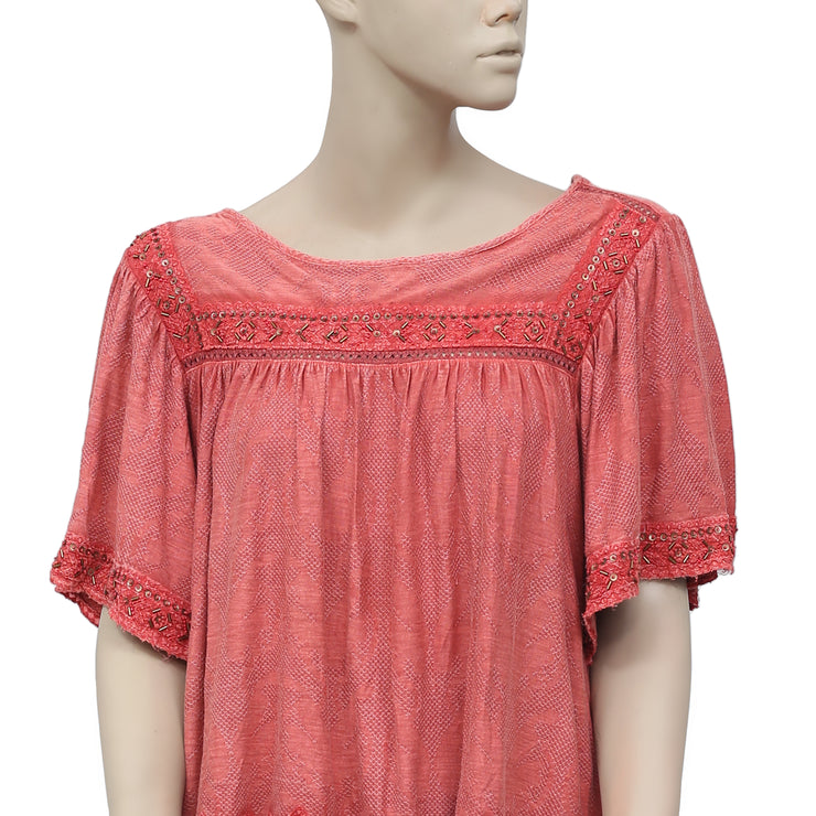 Free People Embellished Embroidered Lace Coral Top S