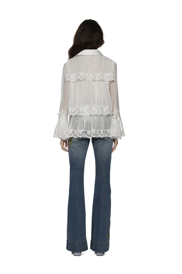 Alice + Olivia Kartwright Pleated Blouse Top