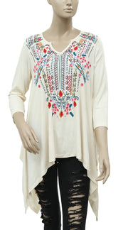 Caite Floral Embroidered Asymmetrical Boho Dress M