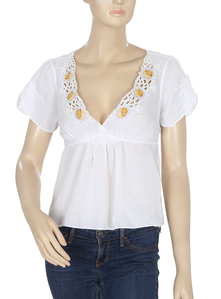 Free People Fp New Romantics Embroidered White Blouse Top M