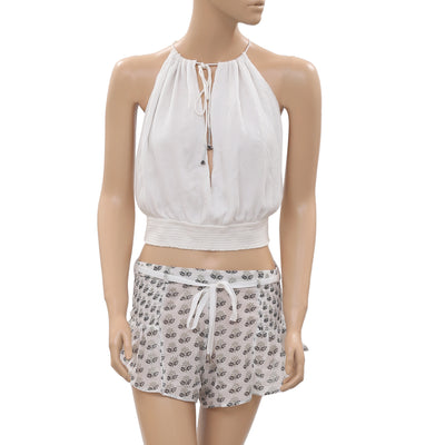 Nw Free People Printed Smocked Cutout Strappy White Crop Top Shorts Set S