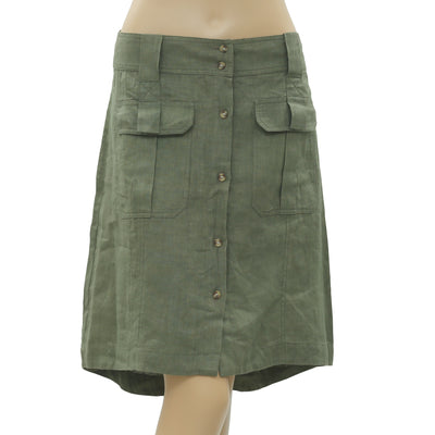 NWT White chocolate Buttondown Pocket High Low Olive Green Mini Skirt M