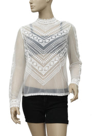 Kimchi Blue Sheer Embroidered Ivory Blouse Top M