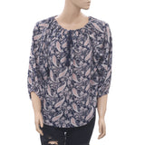 Denim & Supply Ralph Lauren Printed High & Low Boho Navy Blouse Top S New