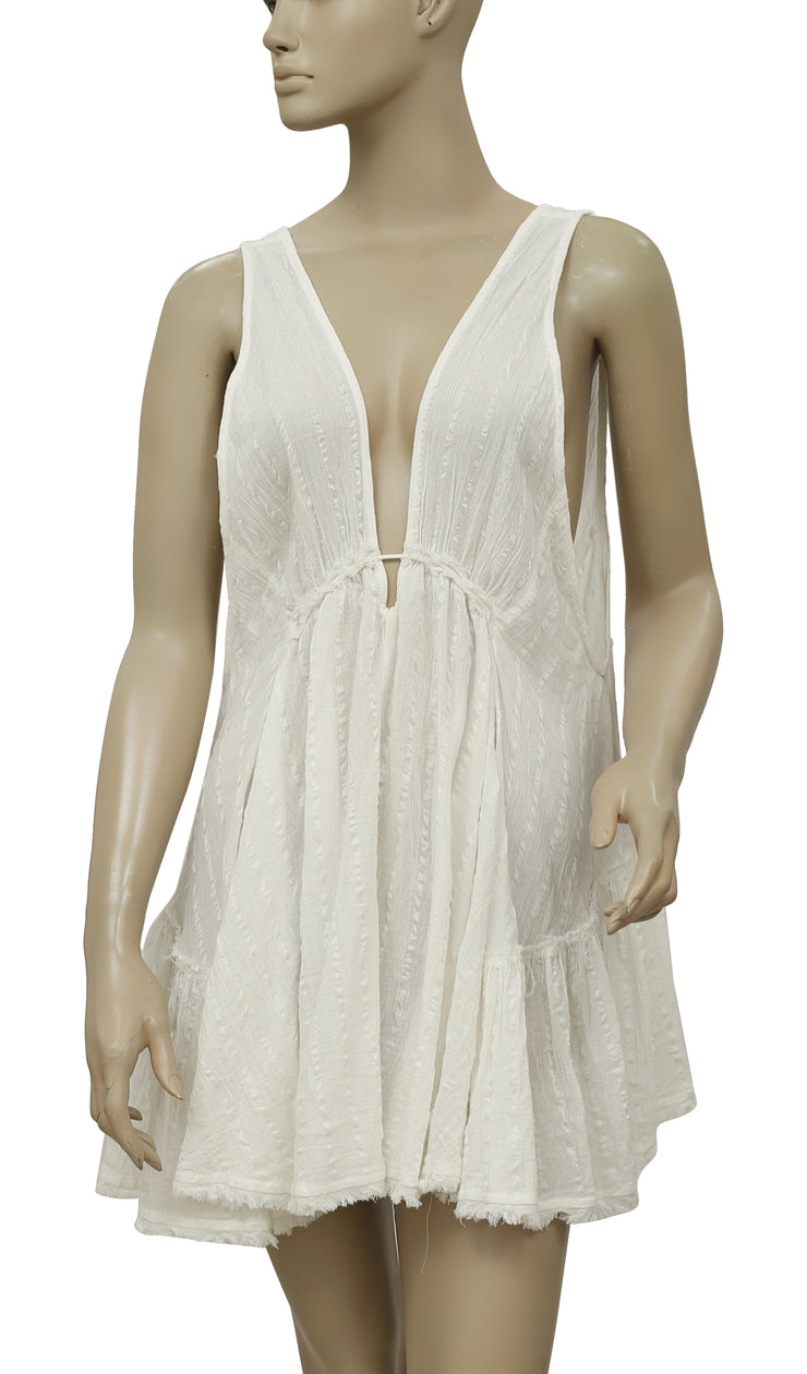 Free People Deep V Neck White Tunic Dress S