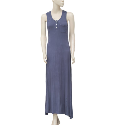 Caite Racer Back Sleeveless Blue Slip Maxi Dress XXS