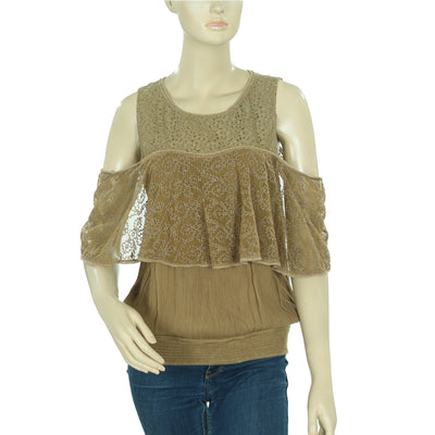 Free People Open Shoulder Smocked Top S