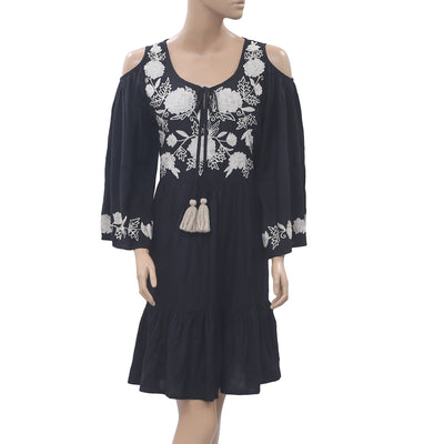Anthropologie Embroidered Black Mini Dress M