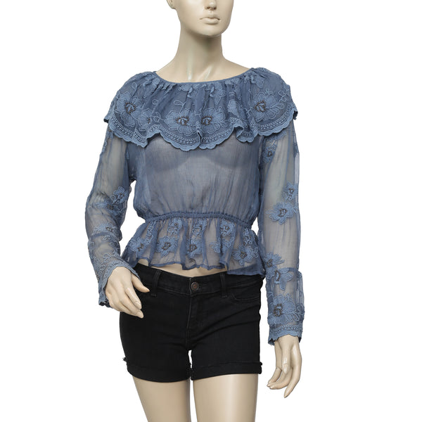 Kimchi Blue Ruffle Embroidered Top XS