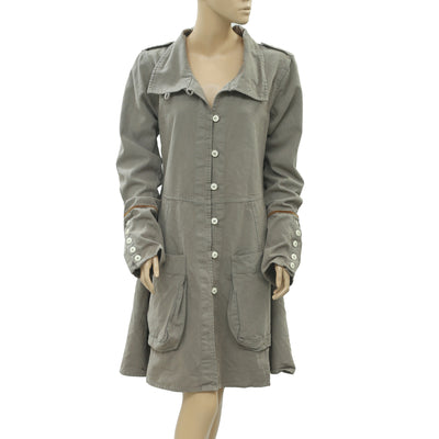 Ewa I Walla Peasant Lagenlook Vintage Buttondown Gray Coat Dress M