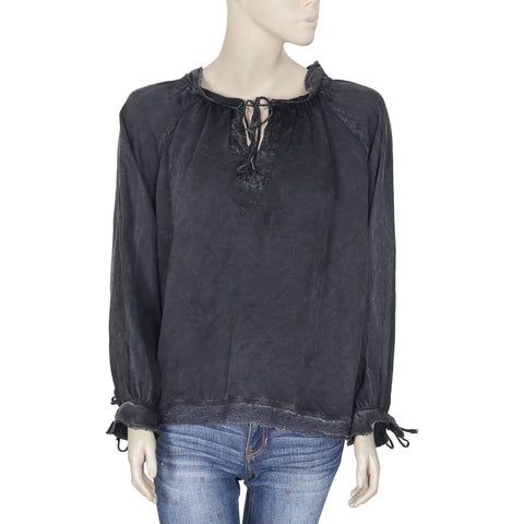 New Zadig & Voltaire Lace Embroidered Tie Knot Long Sleeve Gray Top XS