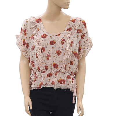 Ulla Johnson Floral Printed Silk Blouse Top Tiered Smocked Boho S New