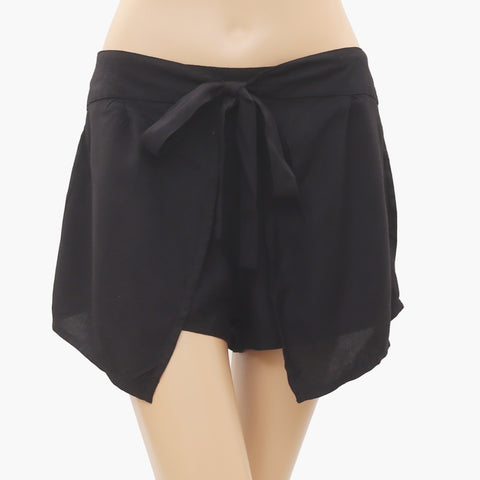 New Free People Summer Draw String Gauzy Black Cropped Shorts M