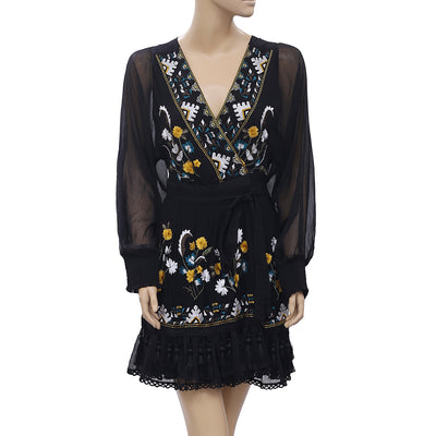 Uterque Floral Embroidered Mini Dress Black Wrap Gorgeous Gauze S