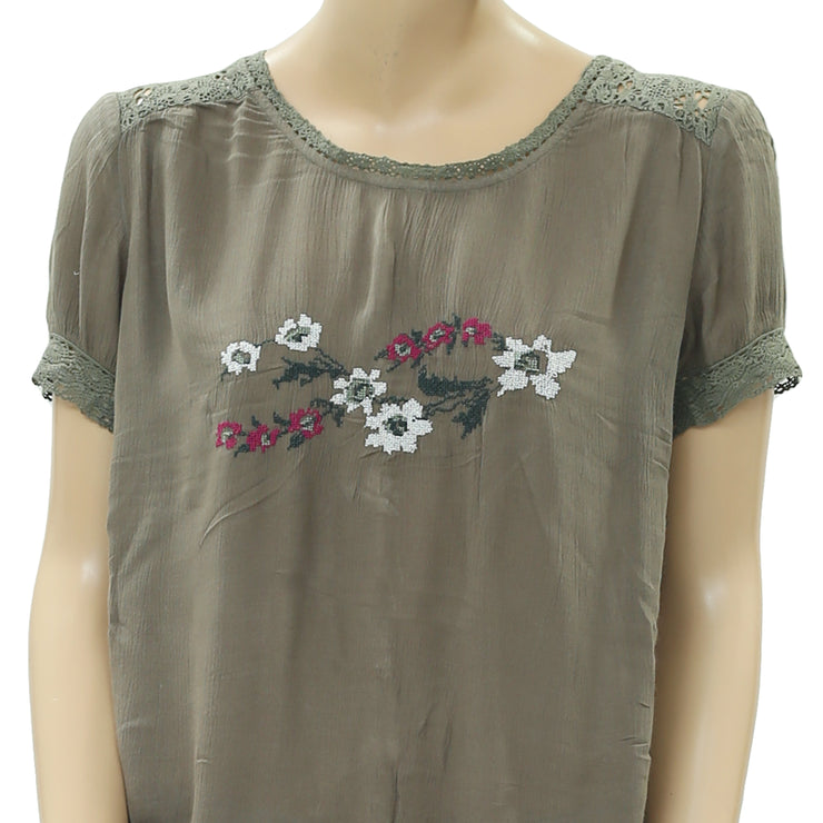 Free People Springtime Woven Top Embroidered S
