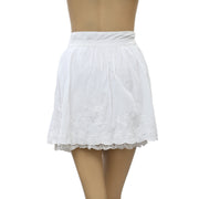 Forever New Eyelet Floral Embroidered Zipper White Mini Skirt S 16