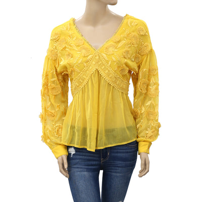 Michelle Keegan Anthropologie Floral Embroidered Top S