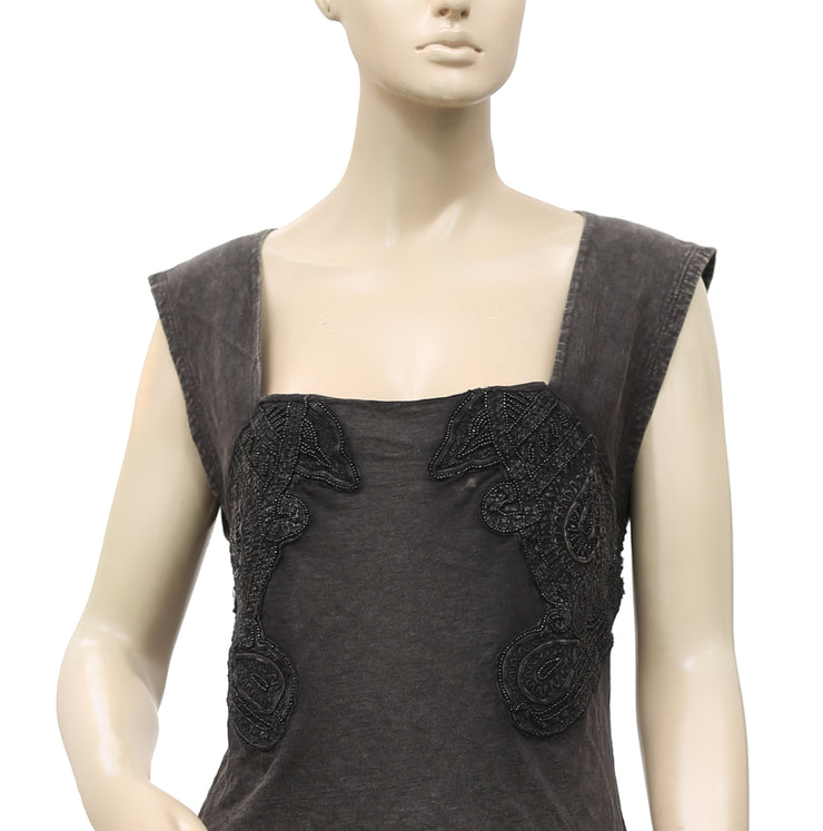 Free People Embellished Vintage Cutout Charcoal Blouse Top L