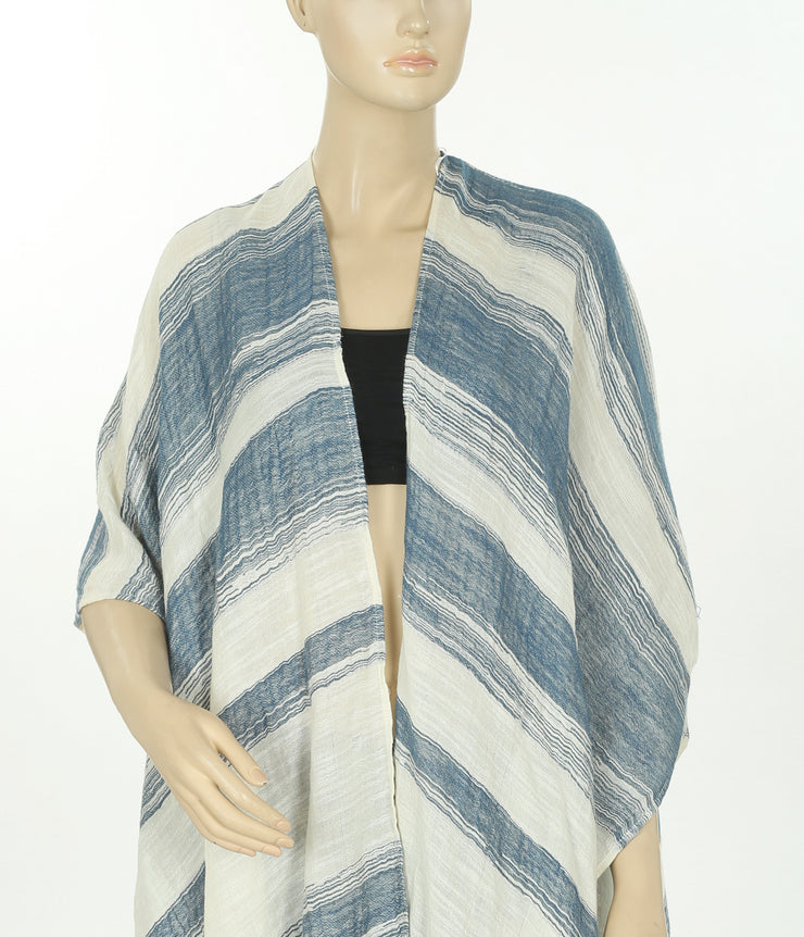 Elan Striped Front Open Casual Cardigan Kaftan Top FS