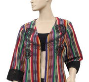 Roja Colorful Printed Embroidered Top L