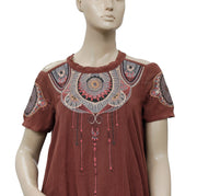 Free People Mesh Embroidered Brown Top S