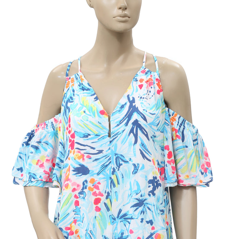 Lilly Pulitzer Cold Shoulder Smocked Print Mini Dress XS