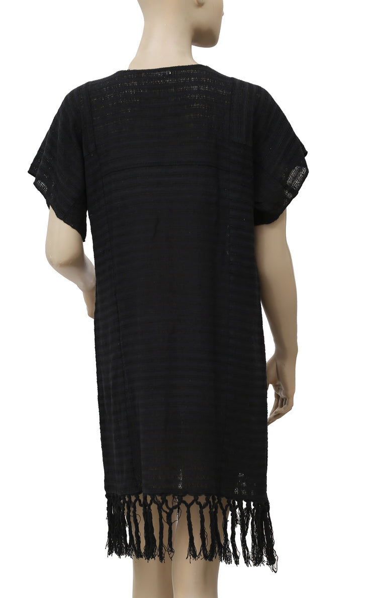 Ulla Johnson Fringes Black Kimono Gauze Dress M