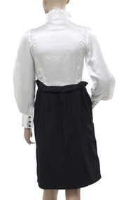White Chocolate Ruffle Long Sleeve Black Top & Skirt Joint Dress XS