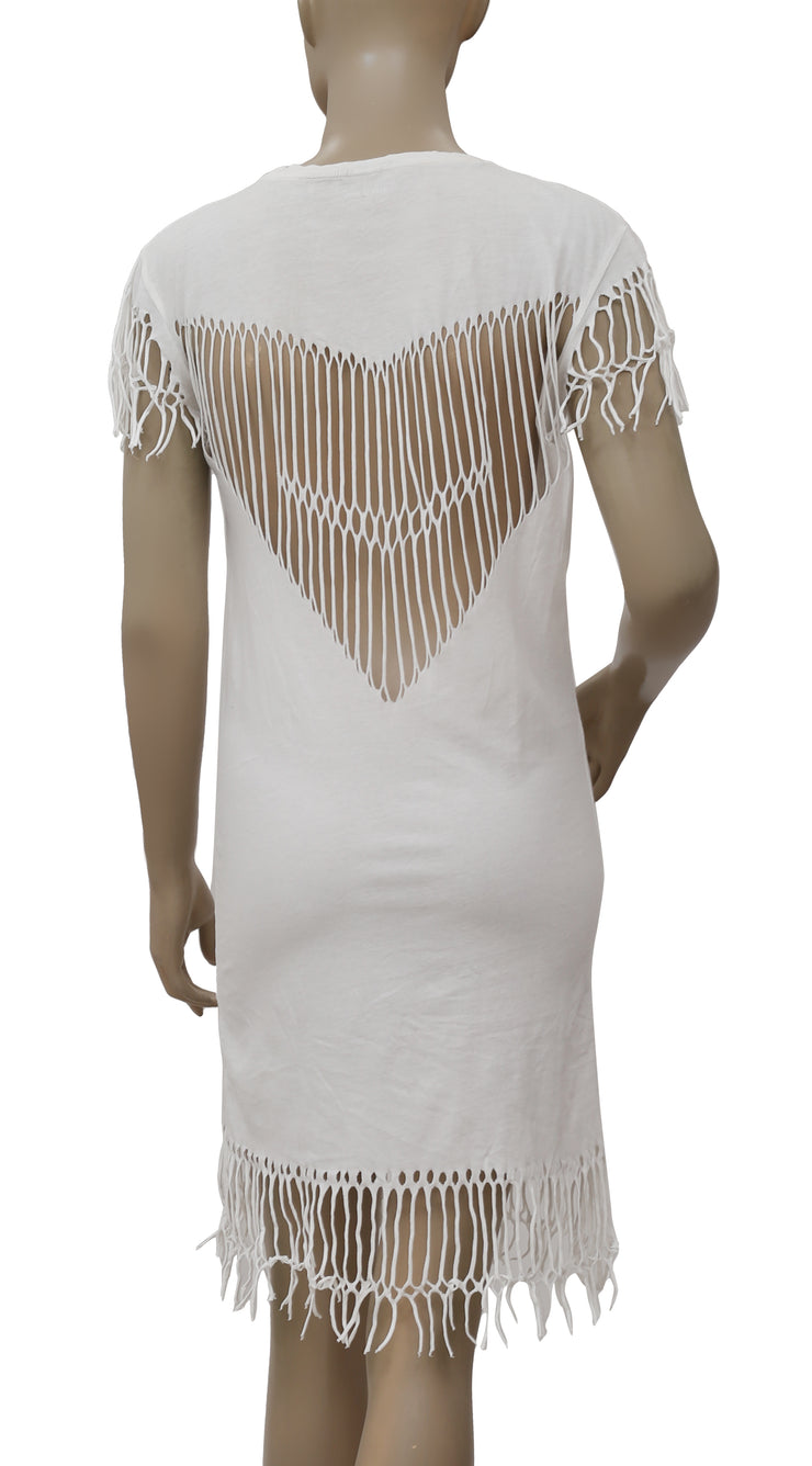 Zadig & Voltaire Wane Fringes Sheath White Dress XS
