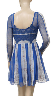 Free People Tough Love Fit and Flare Blue Mini Dress S