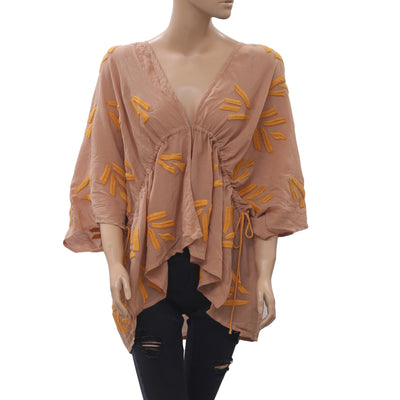 Maeve Anthropologie Embroidered Kimono Coverup Top Oversized Boho XS/S