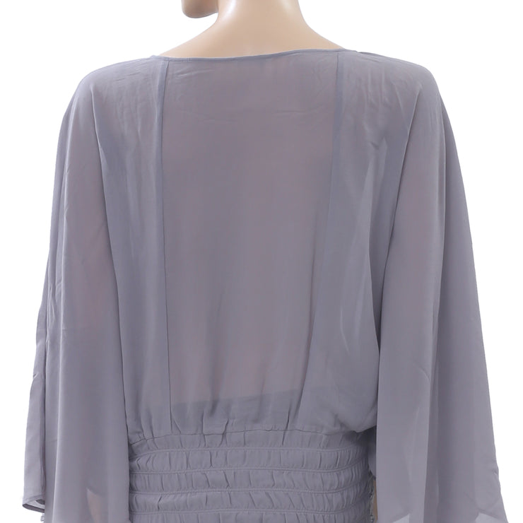 Saivana Anthropologie Embroidered Blouse Top Smocked Batwing Gray S
