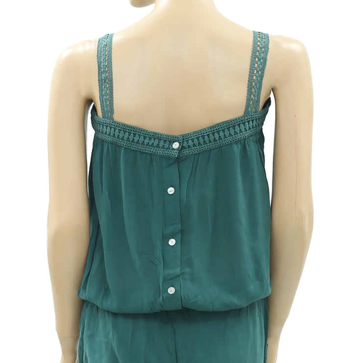 Drolatic Tank Top Collor Day Ladder Lace Green Summer Jumpsuit XS 0