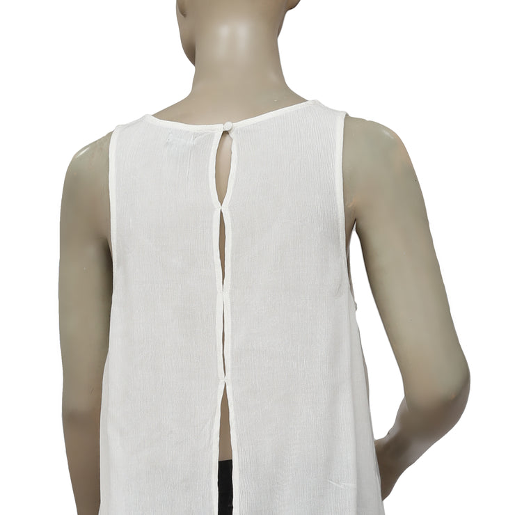 Ecote Split Back Embroidered Ivory Tank Top M