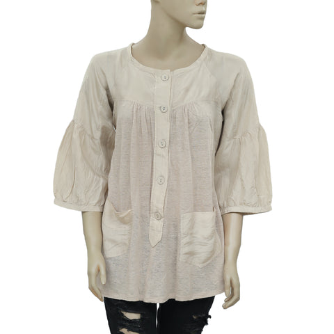 White Chocolate Buttondown Pocket Puff Sleeve Tunic Top XS