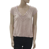 New Free People Lace Summer Sand Bloused Top Extra Small XS