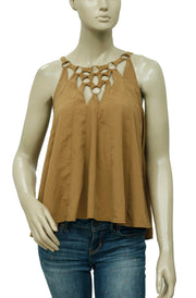 Free People Ring Embellished Mustard Top S