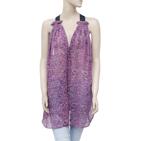 Isabel Marant Étoile Printed Sleeveless Purple Silk Tunic Top M 2