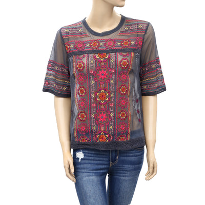 Odd Molly Anthropologie Embroidered Blouse Top M 2