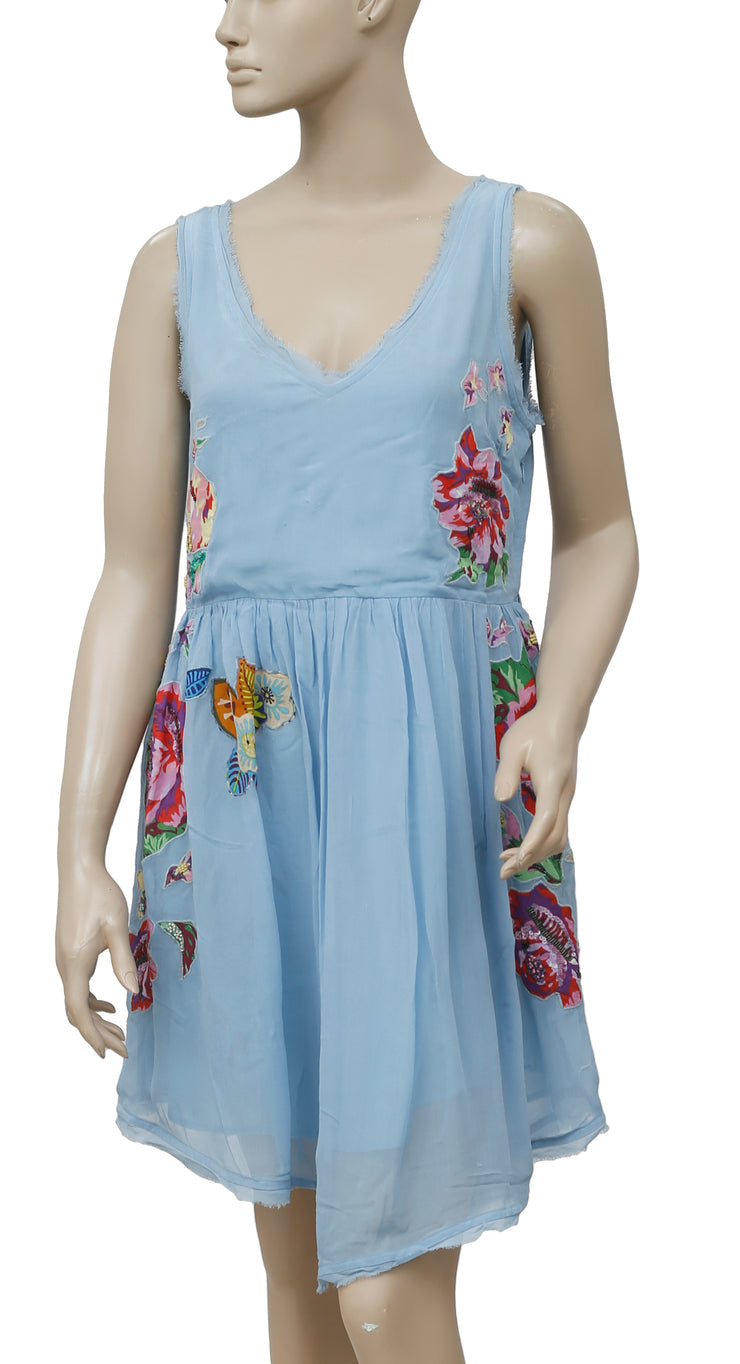 Free People Falling Flowers Embellished Floral Blue Dress S
